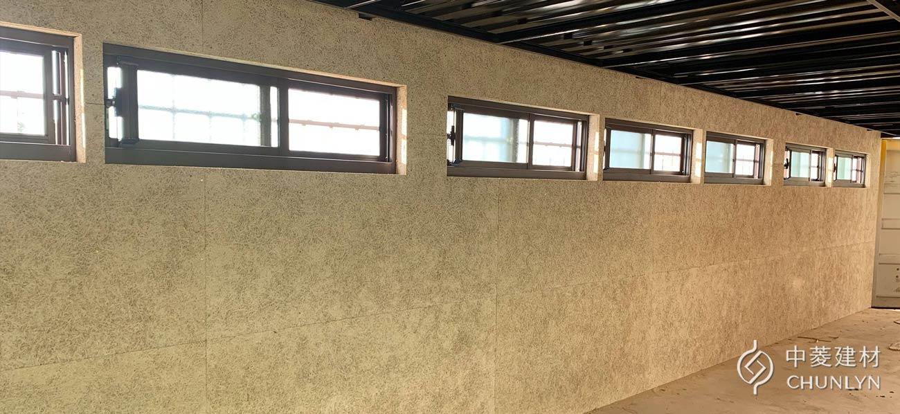 貨櫃屋內側使用鑽泥板,完工後的樣子。