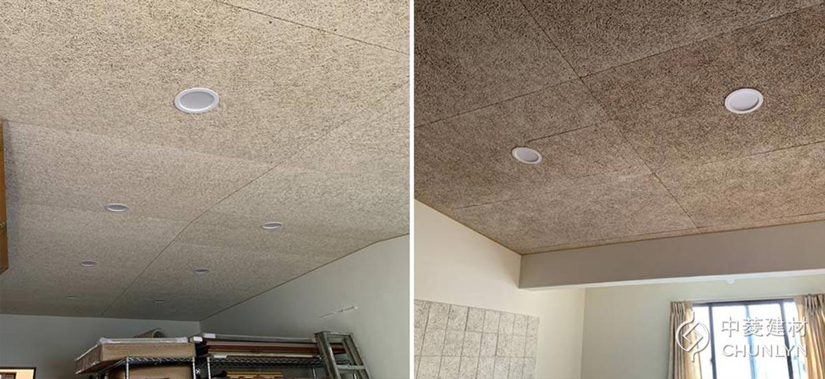 完工後,原木色鑽泥板的天花板讓人待在空間裡很舒服,也解決了頂樓太熱的問題。
