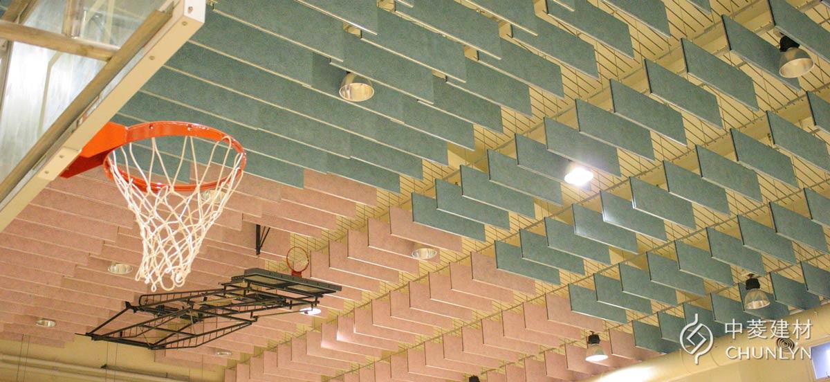 鑽泥板障板天花板案例-台北萬興國小體育館