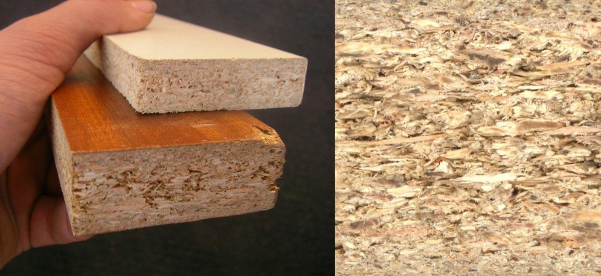從塑合板橫切面可以看到木屑組成。(圖片來源/維基百科-Particle Board)