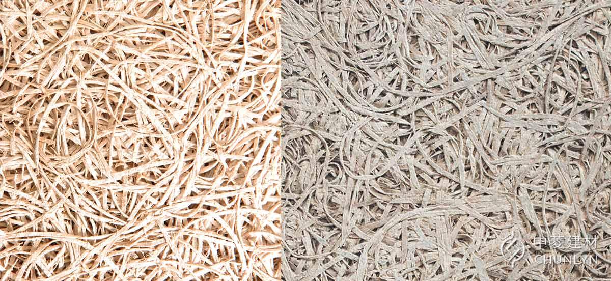 鑽泥板(木絲水泥板)表面有明顯木絲紋路,也屬於木纖板的一種,但多半直接以木絲水泥板指稱