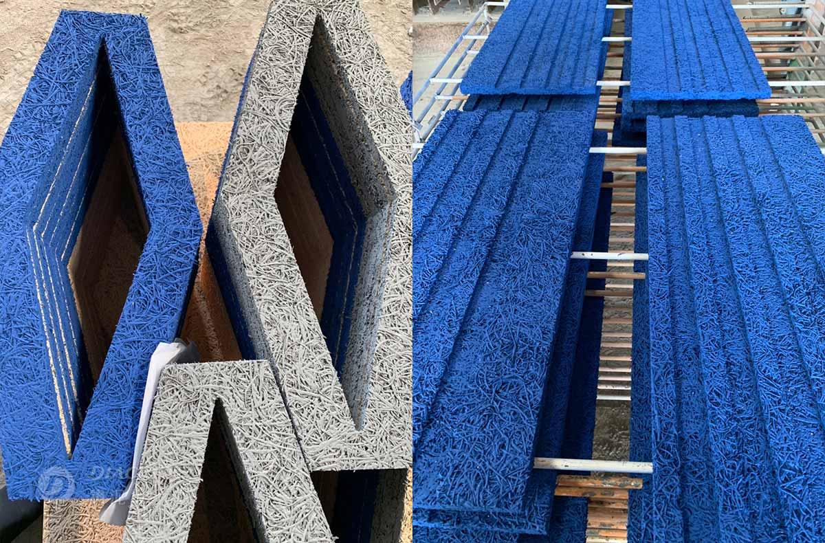 環保水性漆噴色處理:設計師需要寶藍色與灰色的塗裝,我們以環保水性漆噴漆處理,豐富鑽泥板表面色澤並保有立體紋路與吸音性。