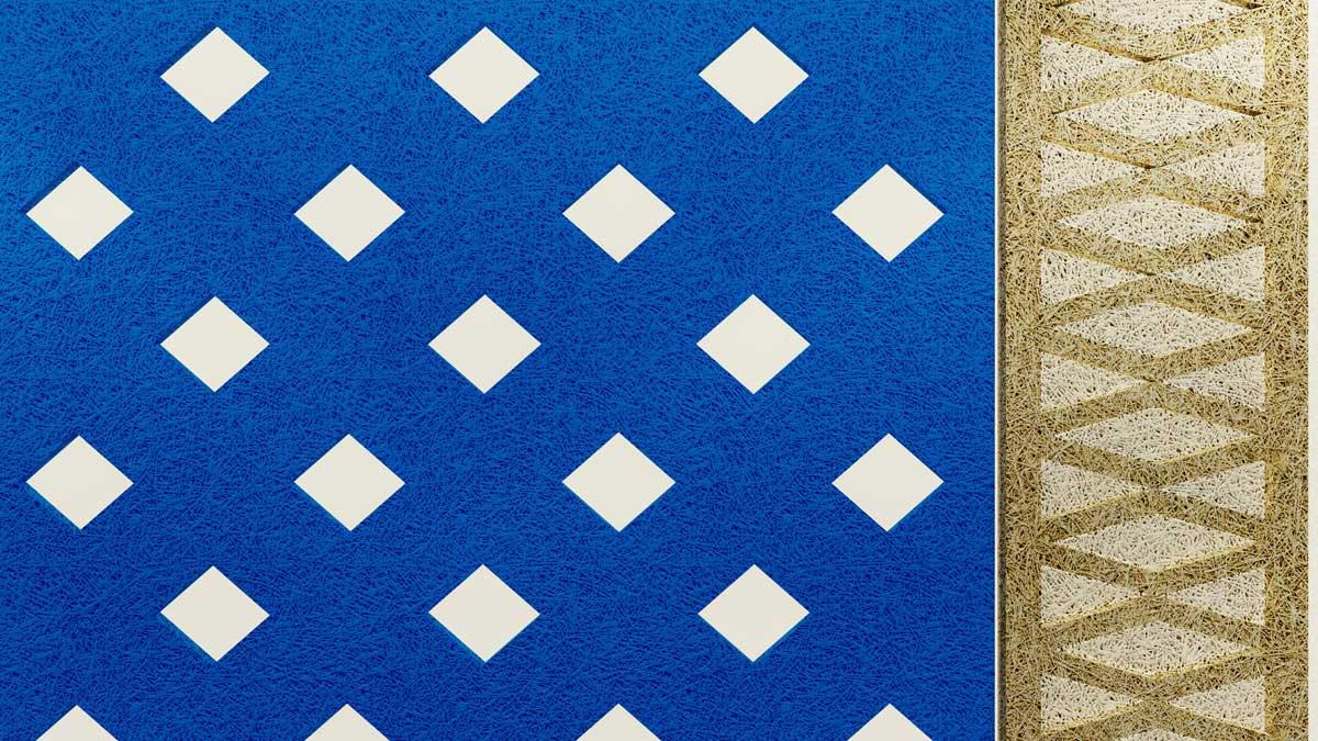 鑽泥板幾何牆面設計模擬圖。(圖/朋柏實業有限公司)