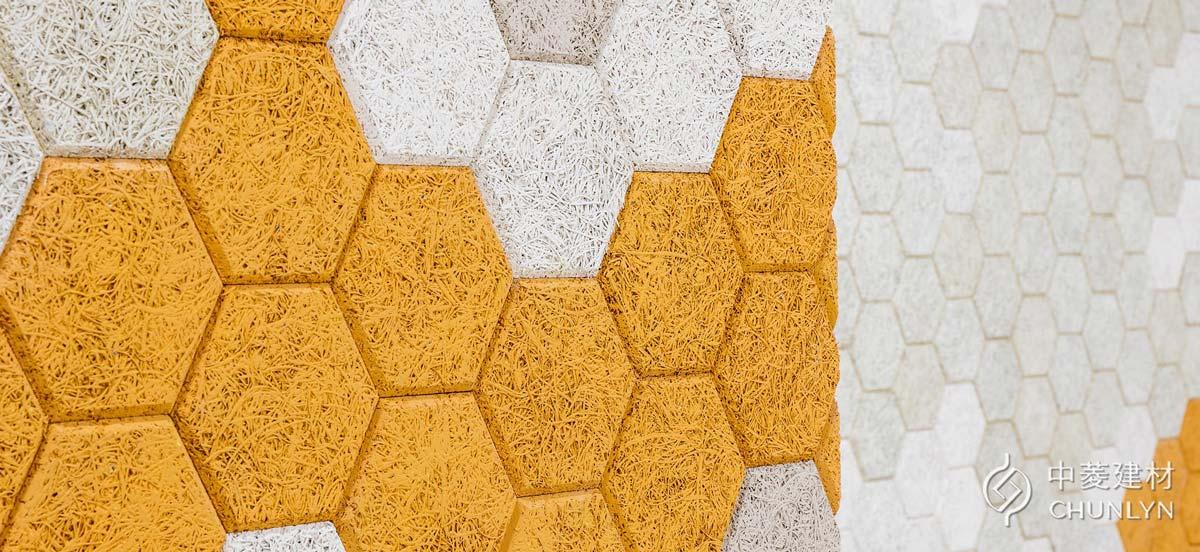 可以使用環保水性漆噴塗鑽泥板,圖為政治大學達賢圖書館採用六角磚的案例。